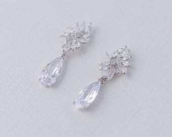 Fleur Cubic Zirconia Drop Earrings, CZ Bridal Earrings Crystal Wedding Earrings, Wedding Set, Bridal Jewellery, Bridesmaid Jewelry, Earrings