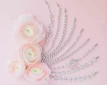 Vine Cubic Zirconia Bracelet, CZ Bridal Bracelet, AAA Cubic Zirconia Wedding Bracelet, Art Deco Bracelet, Rodium and CZ Bracelet