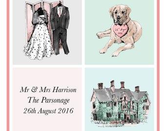 Wedding Portrait Montage Custom Personalised Illustration