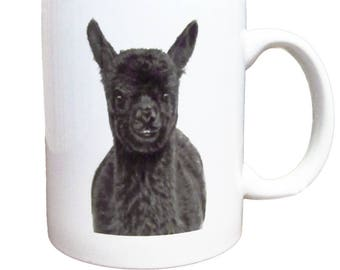 Cup Alpaca-white ceramic coffee mug with black print