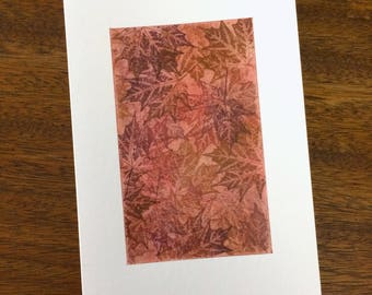 Maple tapestry no. 6 blank card, individually handmade, not a reproduciton: A7, notecards, fine cards, SKU BLA7....