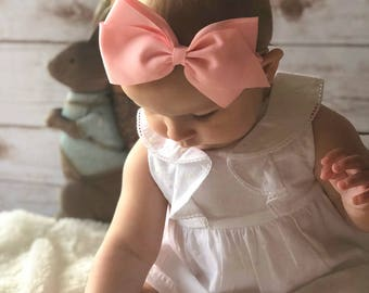 Spring Baby Headband | Easter Theme | 5 inch Bow | Grosgrain Bow on a No Mark Nylon Band