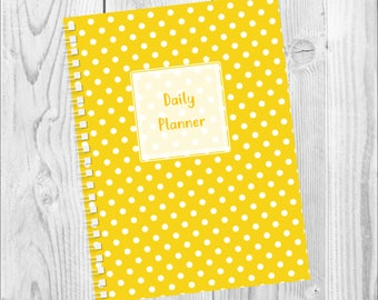 Printed A5 Daily Planner - Yellow Polka Dots Cover