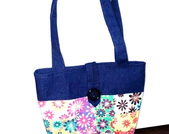 Patchwork bag, Denim bag, Tote bag, Multicolored shoulder bag