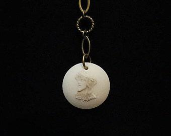 Jesus Crown of Thorns porcelain pendant, antique bronze ball chain 32 inch necklace