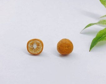 Handcarved Orange Earring Studs, recycled wood handmade earrings, perfect gift, made in north vancoucer, canada, love nature