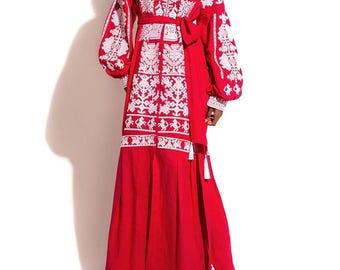 Vyshyvanka Dress Ukrainian Dresses Kaftan Abaya Open Long Embroidered Clothing Boho Dresses Custom Embroidery Bohemian Clothing Vishivanka