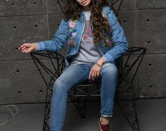 Denim Jacket Embroidered Coat Bomber Woman Outwear Autumn Spring Casual Style Denim Outfit Ukraine Embroider Boho Clothing Bohemian Clothes