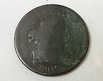 1807 drapped bust half cent colonial copper coin, vg details visable date and liberty, reverse strong
