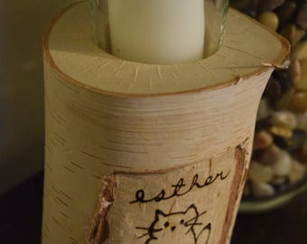 Carved and Burned Birch Candle Holder