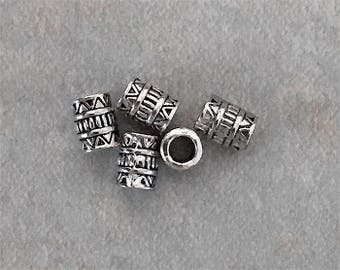 Spacer Beads Tube Antique Silver Tone Bali Exotic Beads 7mm x 5mm Scrollwork Design