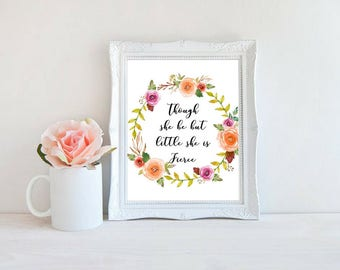 Printable art, Though She be but Little, Typography, Nursery Print, Childrens Art.