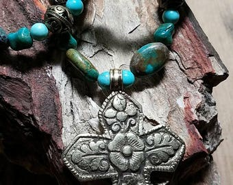Turquoise and Brass Cross Necklace