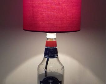 Spitfire Beer Bottle Lamp with Red Shade