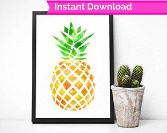 Watercolour Pineapple Print, fruit print, printable art, pineapple art, pineapple poster, tropical decor, fruit wall art, printable art