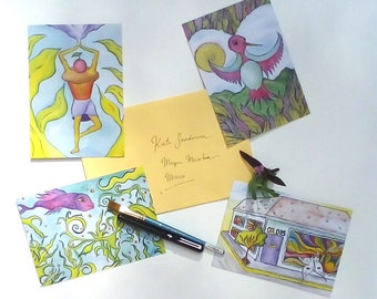 Postcards: Watercolor/Ink Illustrations (set of 4)