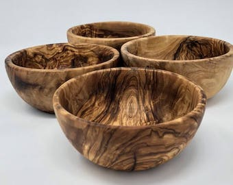 4 Olive Wood Soup/Salad Bowls Qty 4 bowls