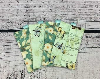 Pocket Tissue Covers (4 Piece Set) - Dragonflies/Floral (Green)