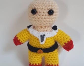 Saitama One Punch Man inspired crochet chibi doll