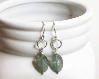 Moss aquamarine earrings,aquamarine earrings,green aquamarine,gift for her,green earrings,birthday gift,sterling silver earrings