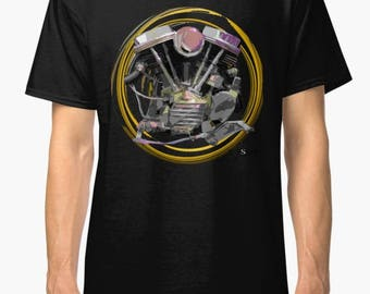 Harley Davidson Pan head Chopper inspired Motorcycle engine T Shirt INISHED