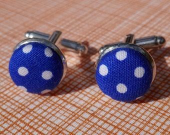 Patterned Fabric Button Silver Plated Cufflinks