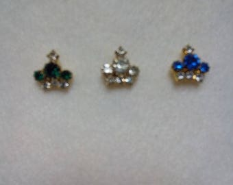 Set of Three Vintage Crown Scatter Pins