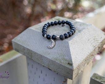 The Stars & Moon Onyx Lava Bead Essential Oil Bracelet