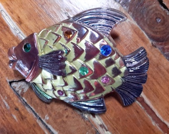 Translucent Lucite Fish Rhinestone Carved Figural Brooch Pin