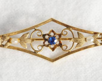 Antique 10k Yellow Gold Brooch Pin with Seed Pearls and Blue Rhinestone (06121)