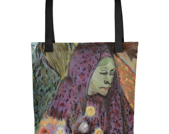 Woman with a Purple Scarf - Amazingly beautiful full color tote bag with black handle featuring children's donated artwork.