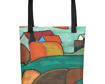 French Farm House in the Hills - Amazingly beautiful full color tote bag with black handle featuring children's donated artwork.