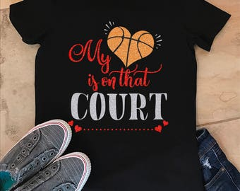 My Heart Is On That Court Basketball Mom Grandma Cotton Shirt T-Shirt Women's Size S-2XL