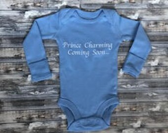"Custom Handmade ""Prince Charming"" Birth / Pregnancy Announcement Onesie"