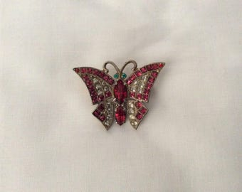 Vintage red stone butterfly brooch