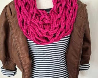 Hot Pink Arm Knit Scarf | Hot Pink Infinity Scarf | Fucshia Scarf | Hot Pink Knit Scarf | Valentine's Day Gifts for Friends