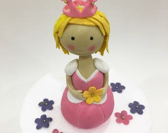 Pink princess and flowers cake topper