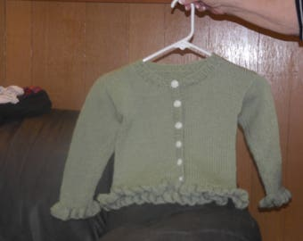 Hand knitted little girls sweater