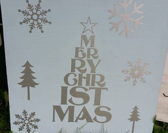 Wooden Sign With Vinyl Merry Christmas and Decorations