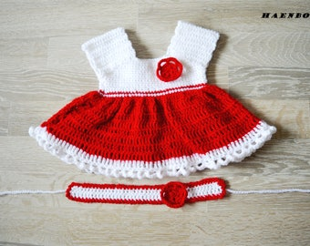 0-12 months Crochet Baby Outfit Baby Girl Dress and Headband 0-3 months crochet baby set