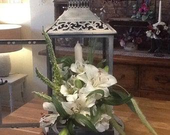 Grey Washed Metal Lantern Wedding Centrepeice/Arrangement