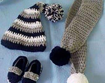 Baby Hat set + hides hand crocheted collar + soft woolen slippers
