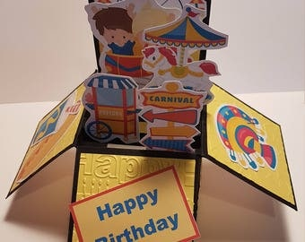 Handcrafted Birthday Card, Carnival Card, Box Card