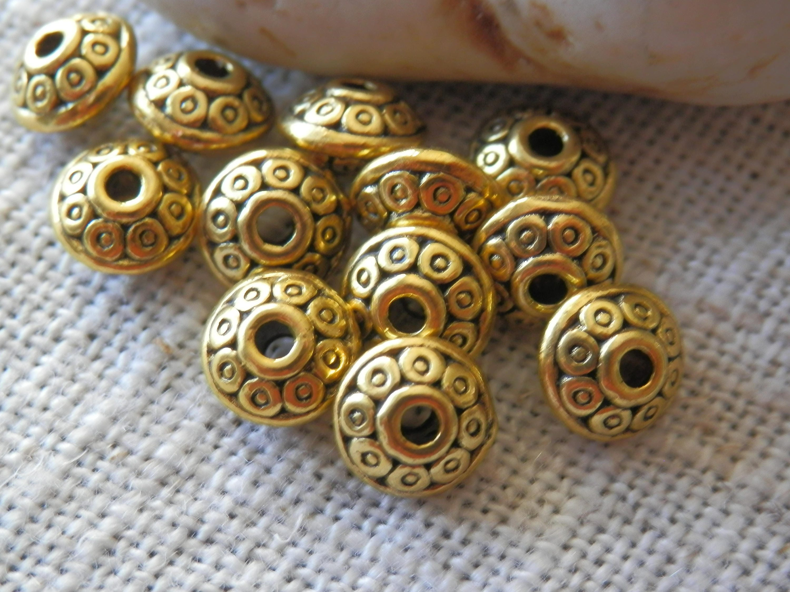 7mm gold tone spacer beads saucer beads rondelle beads for Just my style personalized jewelry studio