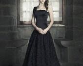 Gothic wedding dress - Black wedding dress - Fantasy Wedding Gown - Tulle long skirt and satin corset - Corset Wedding Dress - Dark princess