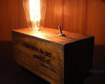 Edison Lamp engraved with laser - Choose your design
