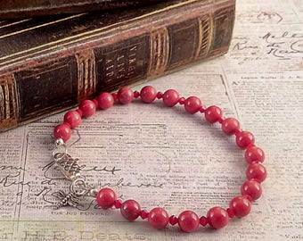 Handmade Red Howlite & Swarovski Crystal Bracelet