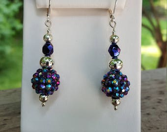 Purples and Blues Sparkle Dangle Earrings