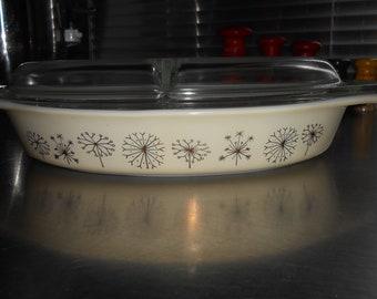 Pyrex Dandelion Duet divided casserole dish
