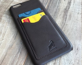 PERSONALIZED Iphone 6 plus Case, Iphone 6S Plus Leather Case, Credit Card Iphone case, Iphone Wallet case, Slim fit case, BROWN